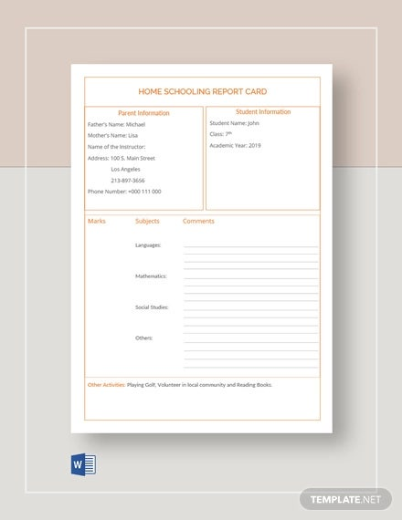 home schooling report card template