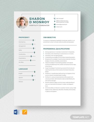 hospitality coordinator resume template