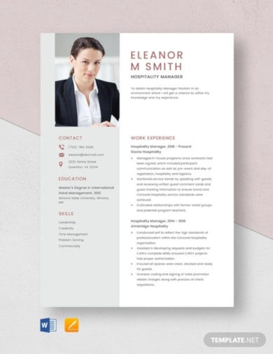 hospitality manager resume template