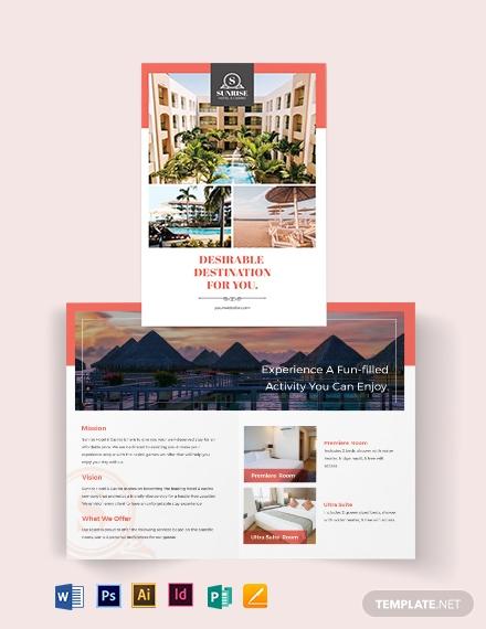 hotel advertising bi fold brochure template