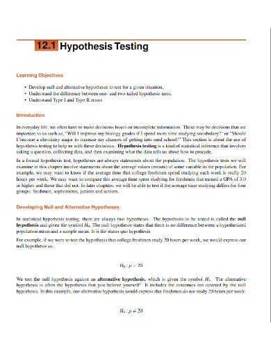 hypothesis objective testing
