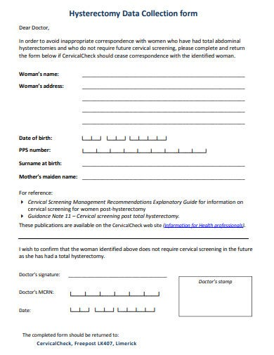 hysterectomy data collection form template