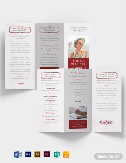 in loving memory funeral tri fold brochure template