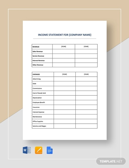 10 Net Income Templates In Google Docs Word Excel