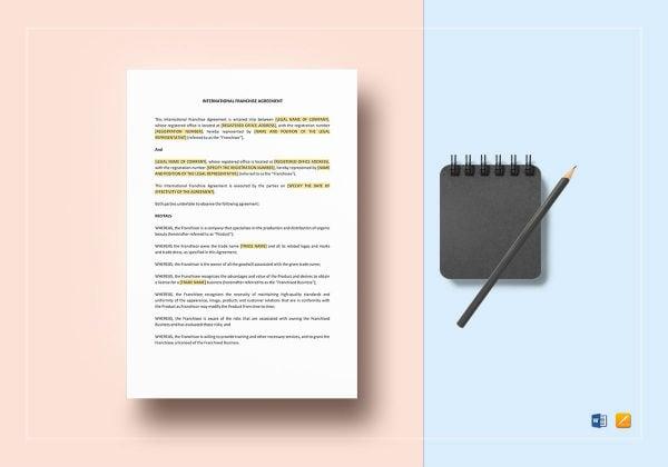 international franchise agreement template mockup