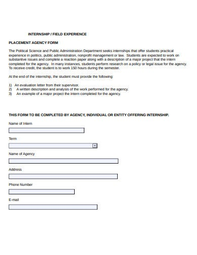 internship placement agency form