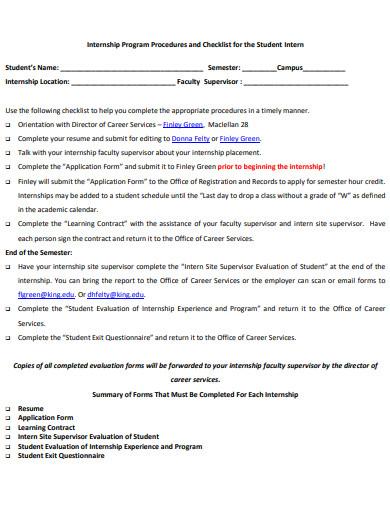 internship placement checklist form