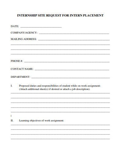 internship placement request form
