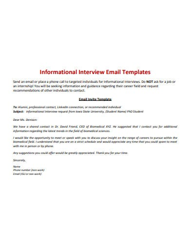 interview invitation email information template