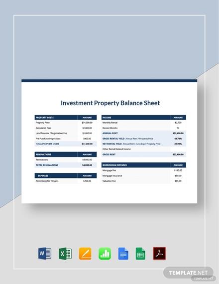 investment property balance sheet 2