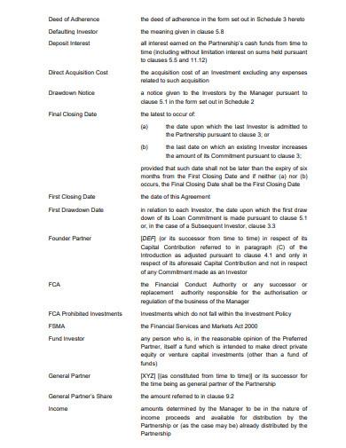 investor investment partnership agreement template