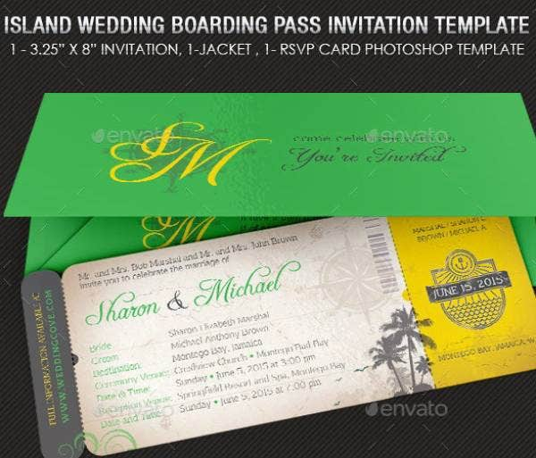 island wedding boarding pass invitation template preview 1