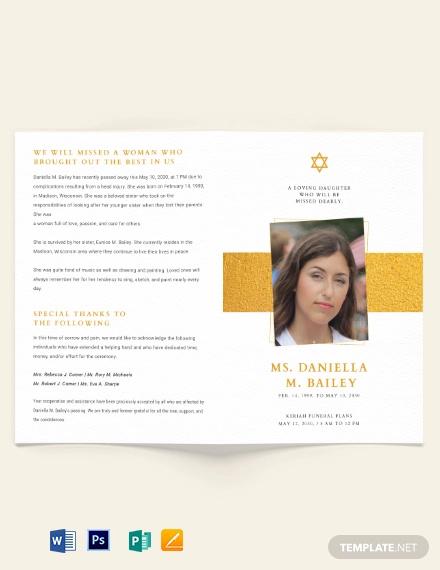 jewish funeral obituary bi fold brochure template