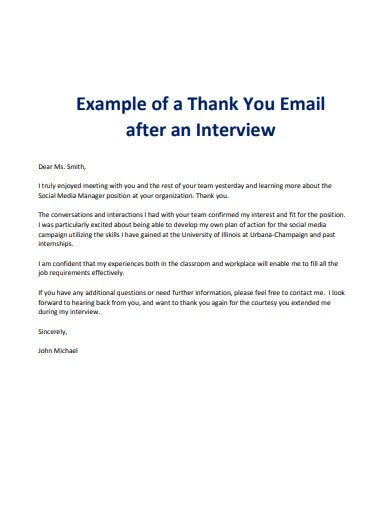 job interview email example