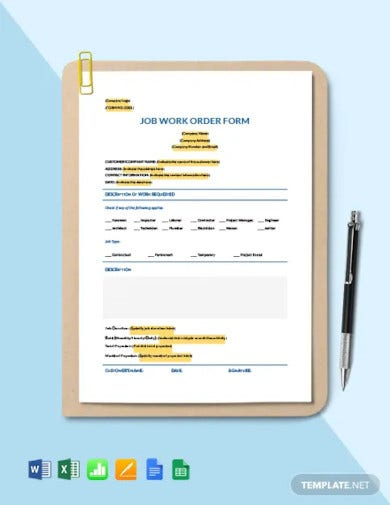 job work order form template