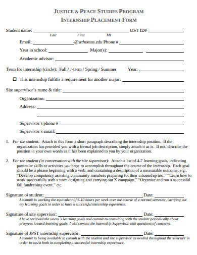 justice internship placement form