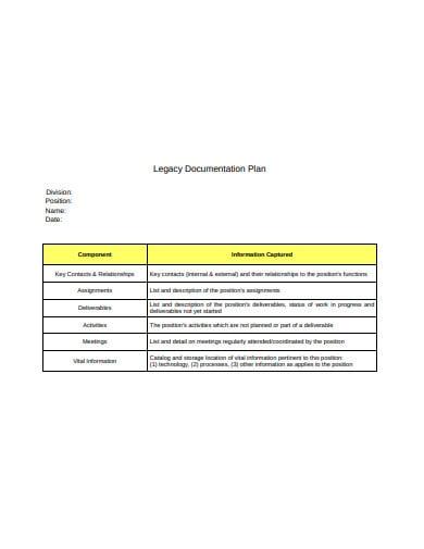 legacy documentation plan example