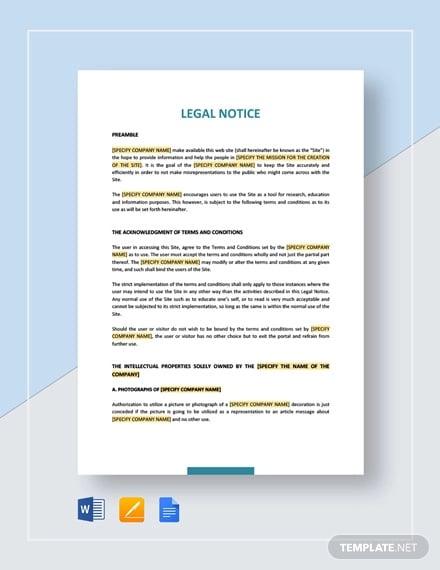 legal notice template1
