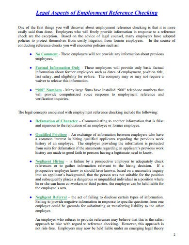legal pre employment reference check template
