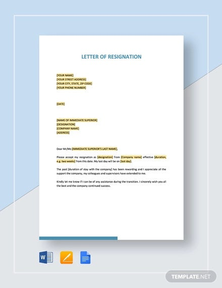 letter of resignation template1