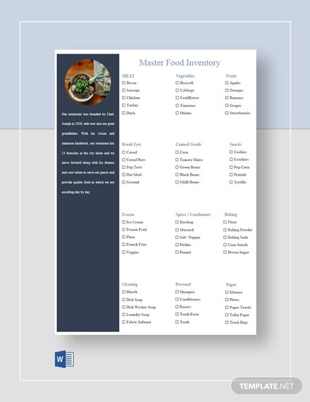 master food inventory template