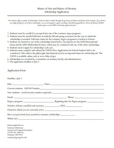 master of arts and master of divinity scholarship application
