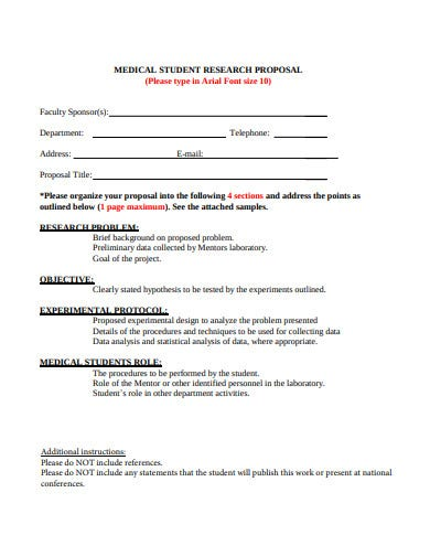 medical student research proposal template