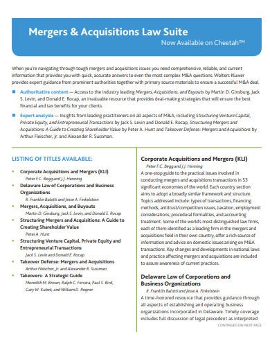 mergers and acquisitions law suite template