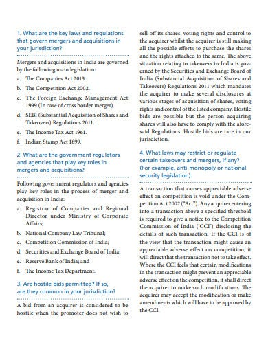 mergers and acquisitions law template