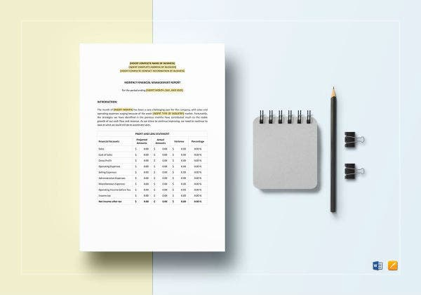 monthly financial management report template1