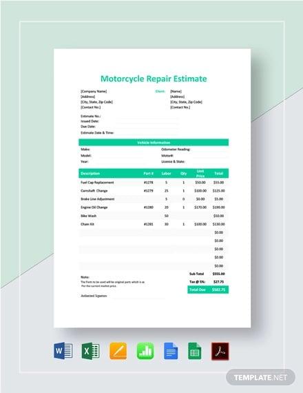 motorcycle repair estimate template