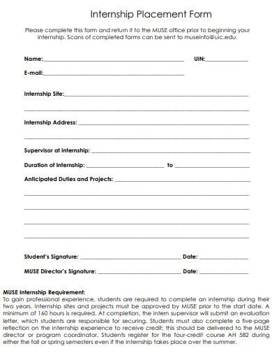 museum internship placement form
