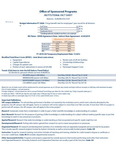 office sponsored program research fact sheet template
