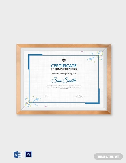 official certificate of completion template1