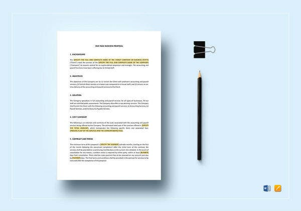 one page business proposal