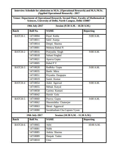 operational research interview schedule