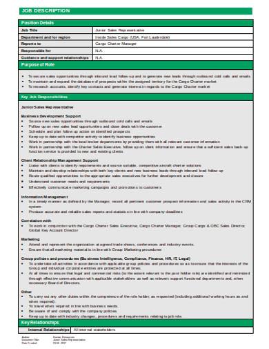 outbound junior sales representative job description