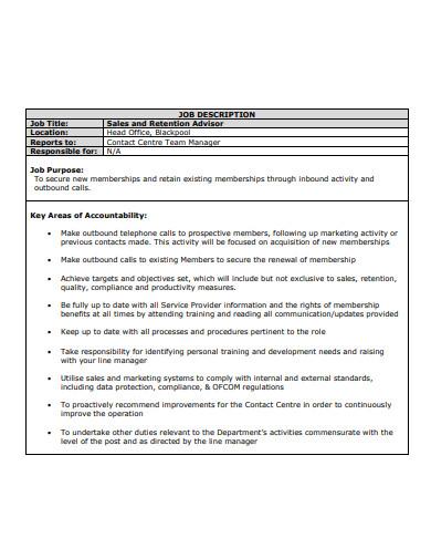 outbound sales advisor job description