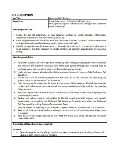outbound sales call advisor job description