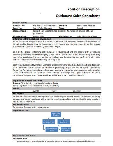 outbound sales consultant job description