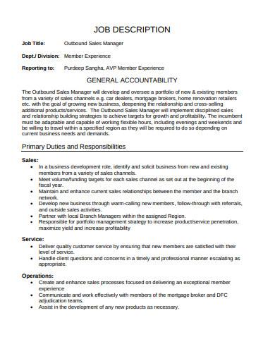 outbound sales manager job description