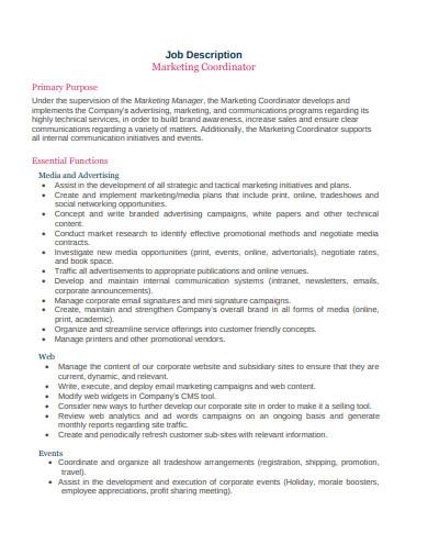 outbound sales marketing coordinator job description