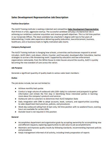 outbound sales representative job description