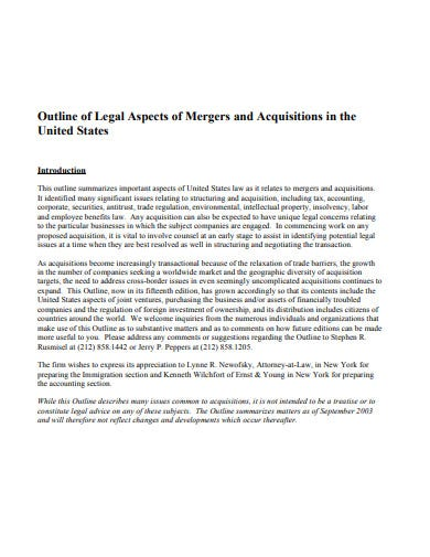 outline of legal aspects of mergers and acquisitions template