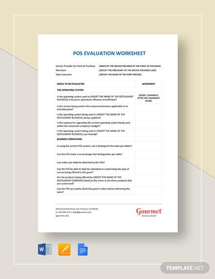 pos evaluation worksheet template
