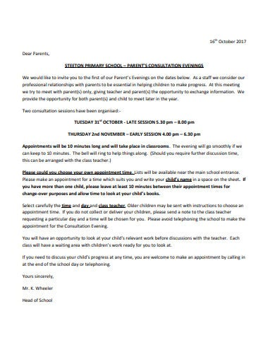 parents consultation letter