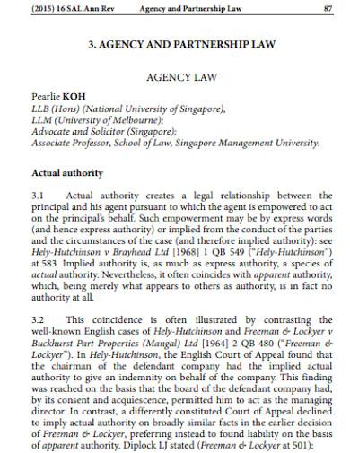 partnership agency law