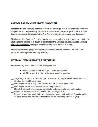 partnership development plnning checklist template