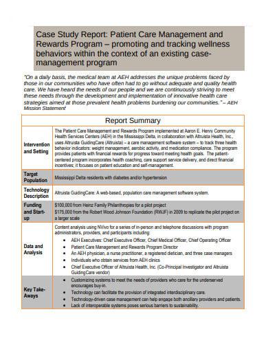 patient case study report