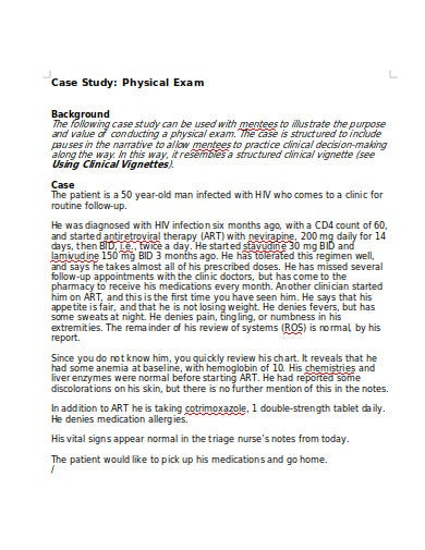 patient physical exam case study